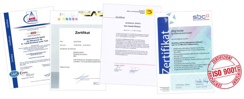 ISO-9001 und weitere Zertifikate